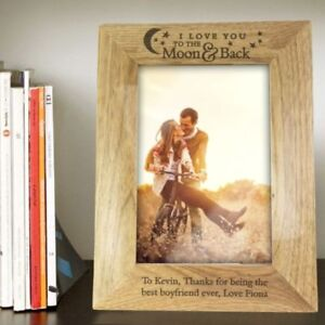 """Personalised Oak Photo Frame 5"""" x 7"""" I Love You to the Moon and Back Valentines"""