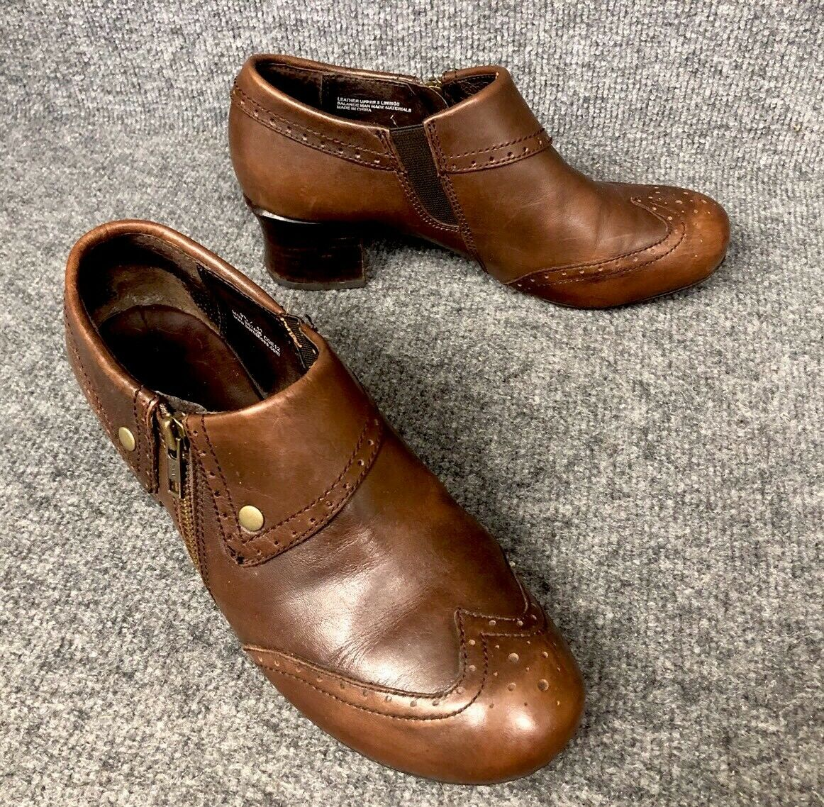 Born Womens 41 US 9.5 Brown Leather Wingtip Ankle Heels Boots Side Zip shoes EUC