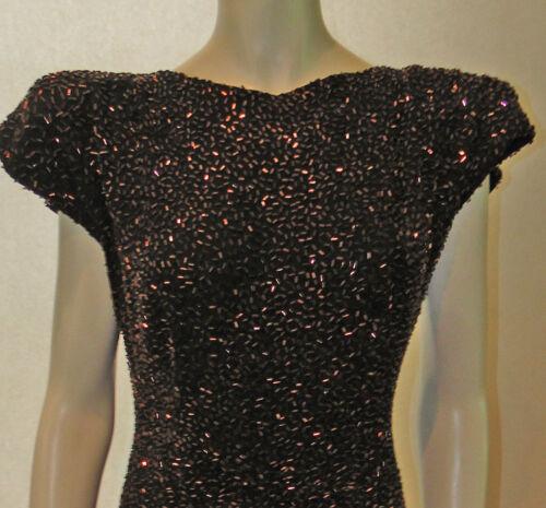 True 1940s VINTAGE BUGLE BEADED DRESS ~ Shoulder P