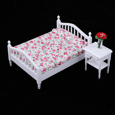 1:12 Dollhouse Miniature Bedroom Furniture Red Floral Wood Single Bed Accs