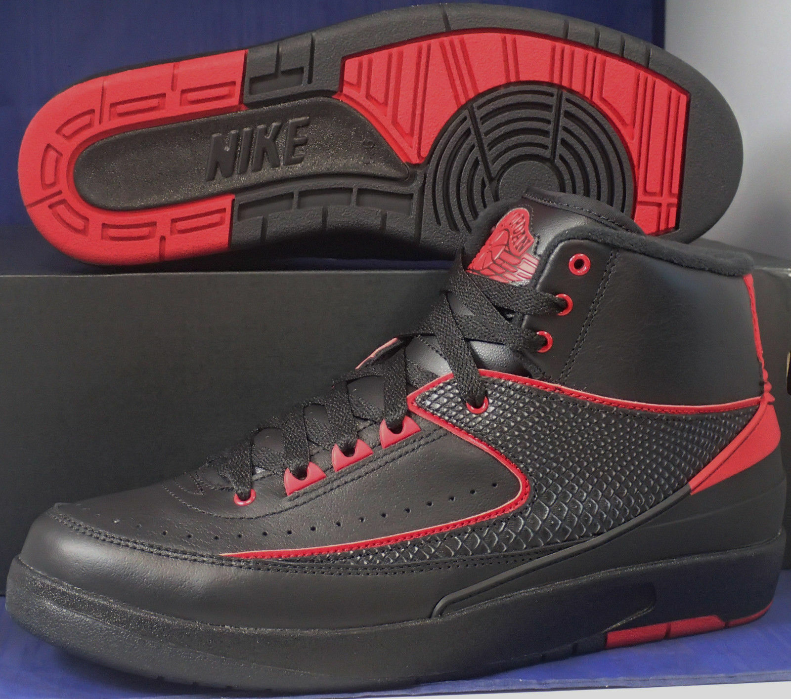 Nike Air Jordan 2 II Retro Alternate 87 Black Varsity Red SZ 11.5 ( 834274-001 )