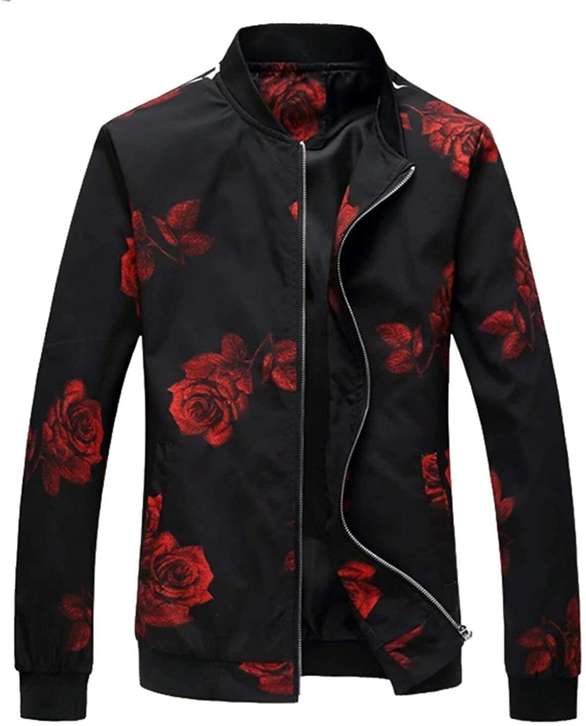 EMAOR Mens Casual Slim Fit Printed Jacket Coat (Lightweight Style & Cotton...