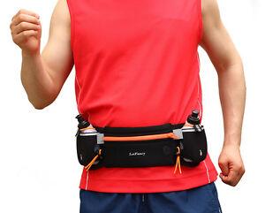 530dd96aa302 Details about Running Belt Waist Pack w/2 Water Bottle Resistant Runner  Hiking Pouch Fanny Bag