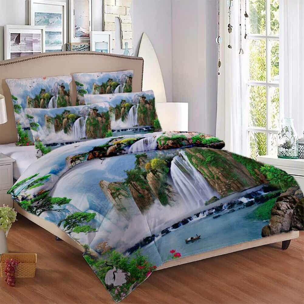 Pine Trees Running 3D Printing Duvet Quilt Doona Covers Pillow Case Bedding Sets