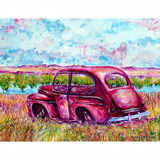 'Long Term Parking' art print of rusted car along SD Hwy 42 - 80lb paper 16x20""