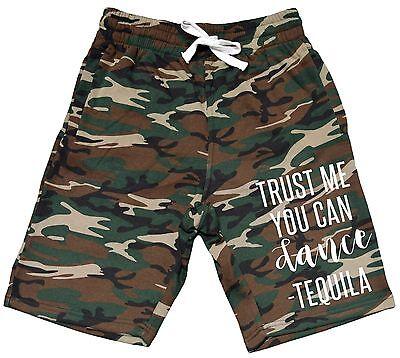 Men/'s Trust Me You Can Dance Tequila Fleece Camo Shorts Sweatpants Jogger V380
