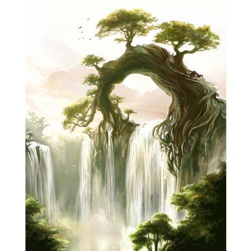 Full Drill Diamond Painting Kit Like Cross Stitch Fairyland Waterfall DIY ZY256D
