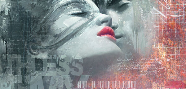 Enrico Sestillo  The Kiss Fertig-Bild 50x100 Wandbild Mädchen Kuss Paar Erotik
