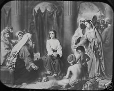 Glass Magic Lantern Slide CHRIST WITH THE DOCTORS IN THE TEMPLE C1890 RELIGION