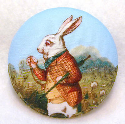"""Alice in Wonderland /""""Book Cover/"""" Fabric Button 1 /& 1//2 in FREE US SHIPPING"""