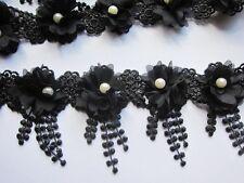 1y Flower Chiffon Lace Edge Trim Pearl Wedding Applique DIY Sewing Crafts-Black