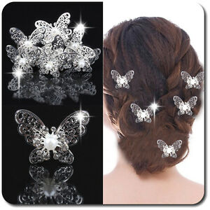 HonnêTe Luxe épingles à Cheveux X3 X6 Fleurs Papillon Métal Argenté Mariée Mariage-afficher Le Titre D'origine