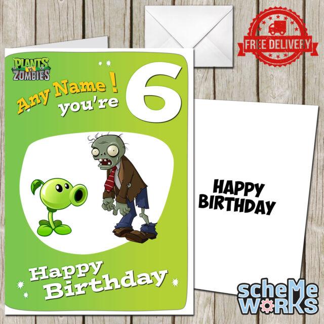 Plants Vs Zombies Personalised Birthday Greeting Card Game Ca228 Ebay