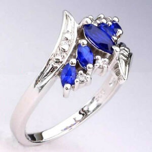 New-Marquise-Cut-Sapphire-Simulated-925-Sterling-Silver-Women-039-s-Fashion-Ring