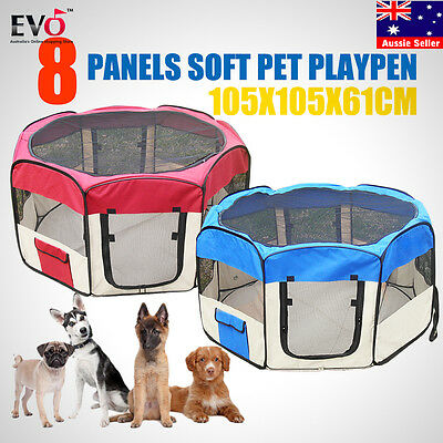 8 Panel Portable Pet Tent Playpen Puppy Dog Cage Crate Fence Exercise Enclosure