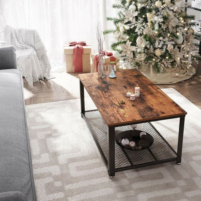 Coffee Table Vintage Distressed Grey Wood Black Metal Finish