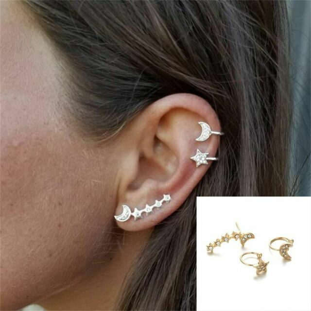 Lunar Earrings Luna Witchy Jewelry Moon Phase Ear Crawler Climber