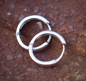 Details About Mens Solid 925 Sterling Silver White Gold Plated Small Huggie Hoop Earrings