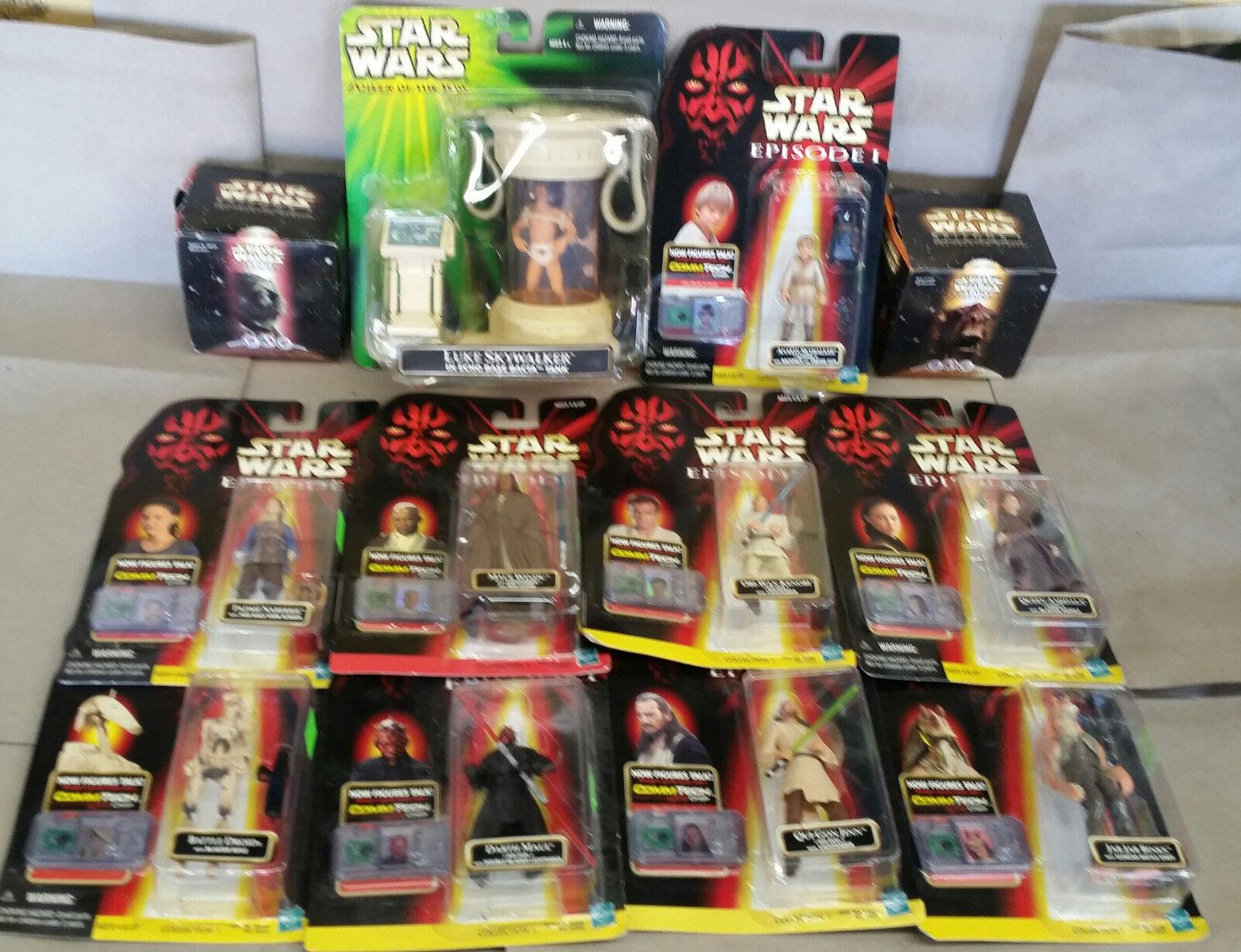 Star Wars Episode Lot of 9 commtech figures, 2 taco bell cube + Luke echo base