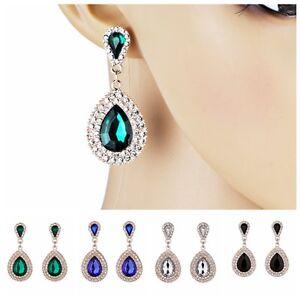 Fashion-Women-Long-Teardrop-Drop-Rhinestone-Crystal-Dangle-Stud-Earrings-Jewelry