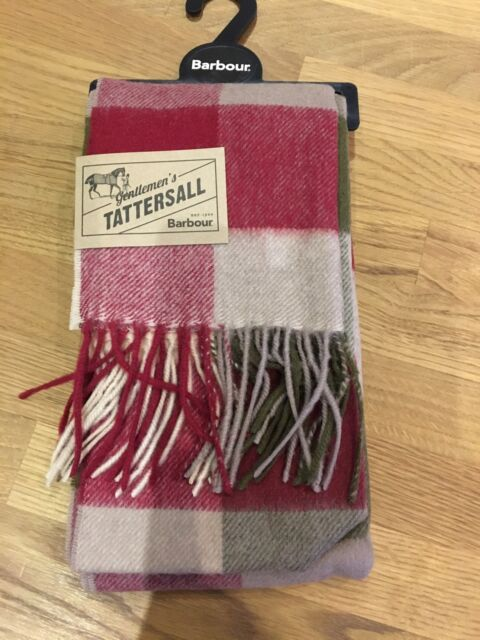 Barbour Unisex Olive and Red Tartan Scarf Lambswool 81884