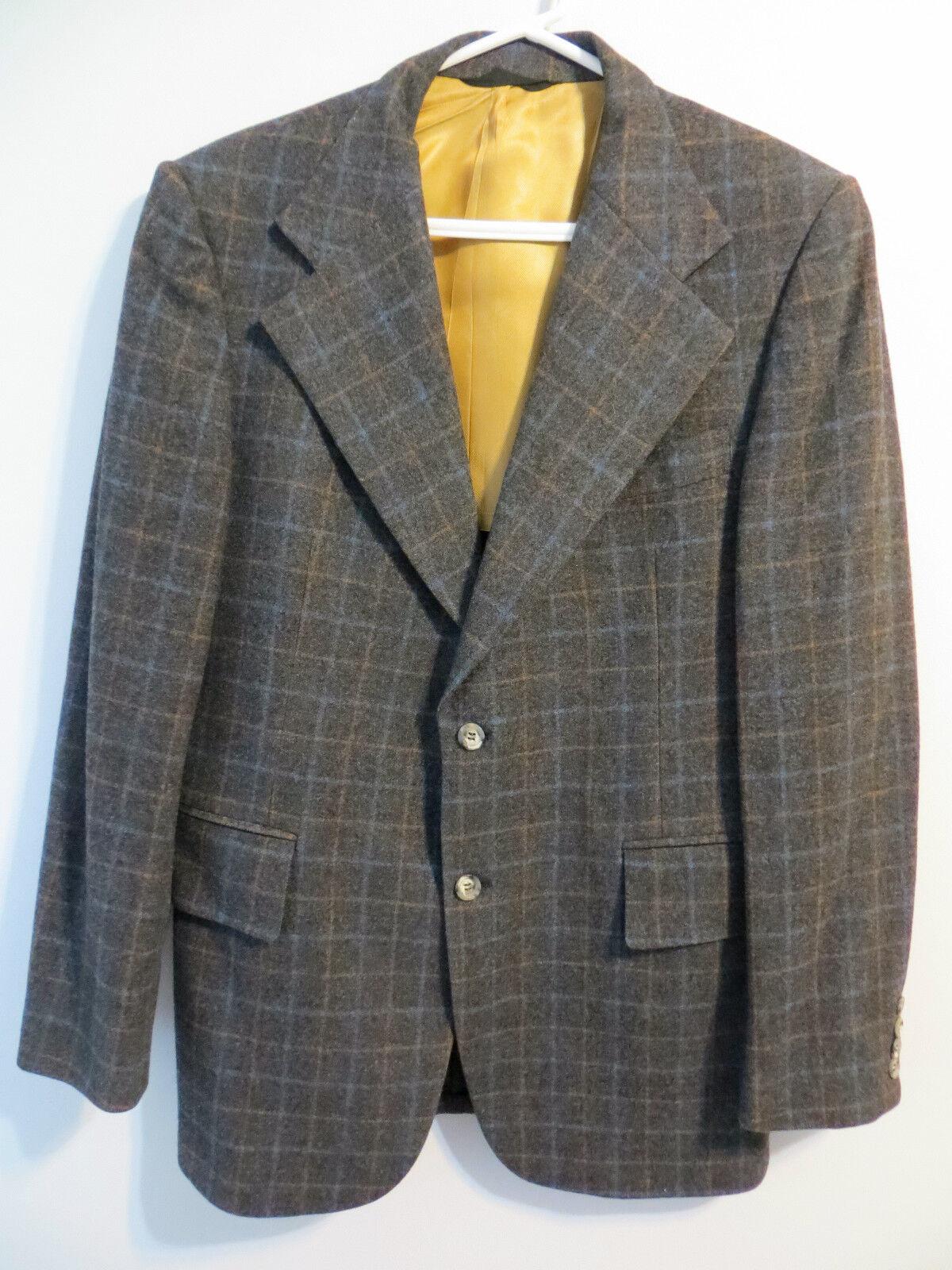 Nino Cerruti Rue Royal Grey Windowpane Mens Wool Suit 40 R Flat Front Pant 34x31