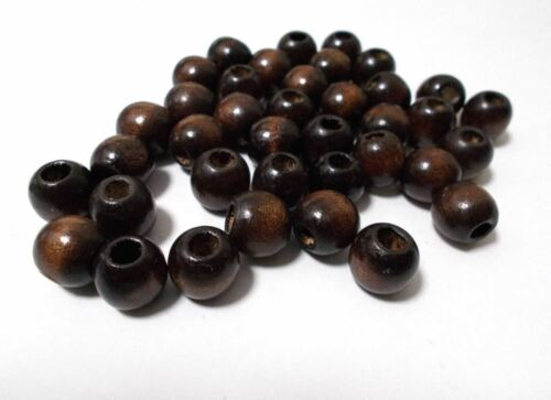 DARK BROWN 500pcs 12mm Wooden Round Pony Wood Beads Large hole: 5mm A10