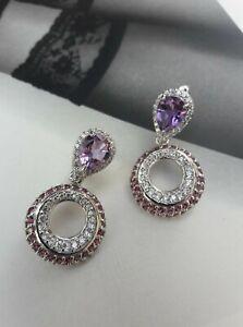 Boucles D'oreilles Améthyste &Grenat_Argent 925_Sterling 14k WG Amethyst Earring