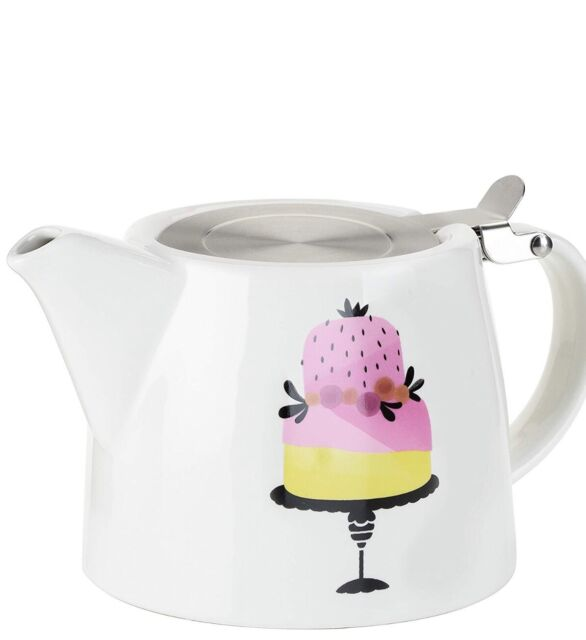 Pinky Up Ceramic Harper Teapot Infuser Piece Of Cake Decorative Lid 20oz NEW