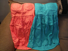 LOT 2 Body Central SMALL Empire Waist Strapless Dresses w Belts - Salmon & Green