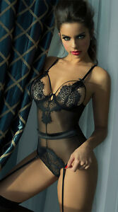 bd5bd3ff4 Image is loading Seductive-Eyelash-Lace-Teddy-with-Garters-Lingerie-Set-