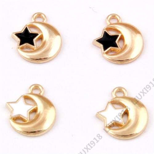 Enamel Gold Plated Star Moon Pendant Charms Bracelet Jewelry Making H939