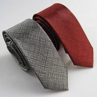 "Lot 2pcs of 2"" Polyester Thin Slim Tie Dark Gray & Red Necktie Solid SKINNY Tie"