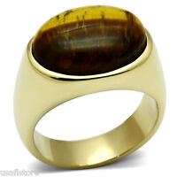 Brown Tiger Cat Eye Gold Ep Mens Oval Shaped Ring