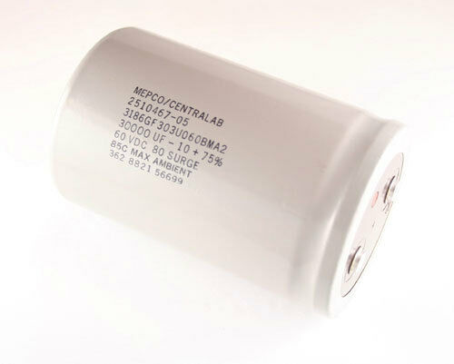 Mepco 30000uF 60V Large Can Electrolytic Capacitor 3186GF303U060BMA2