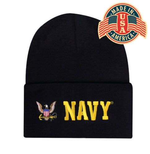 Military Navy Cuffed Embroidered Beanie Hat Skull Cap Head Wear Black Capsmith
