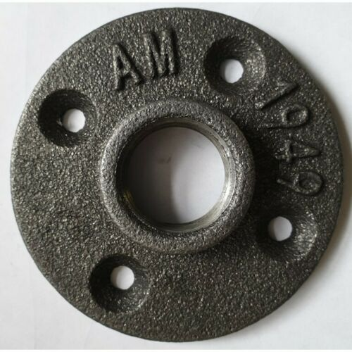 """3//4/"""" 1/"""" BLACK MALLEABLE IRON BSPT FLOOR//WALL FLANGE FURNITURE PLATE"""