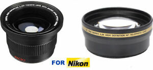 HD FISHEYE MACRO LENS + HD 2.2X OPTICAL ZOOM LENS FOR NIKON D3400 D5600 55MM