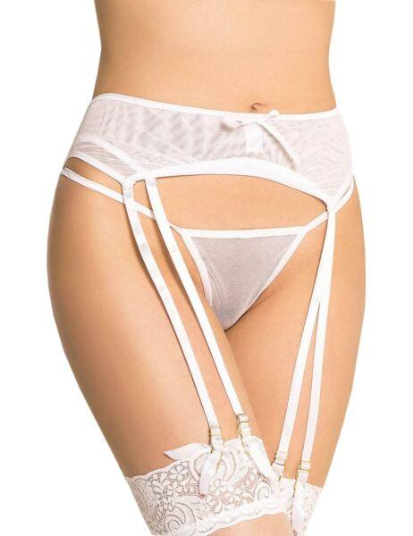 SeXy Damen Strumpfgürtel Strapshalter Dessous Weiss Panty mit String Gogo S/XL