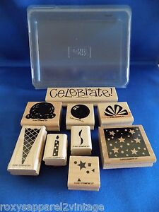 Two-Step-Perfect-Party-Set-of-9-Wood-Mounted-Rubber-Stamps-2001-Stampin-Up