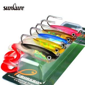 5PC-JIG-Hook-Soft-Bait-Fish-Lure-10cm-3-9-034-Bass-Bait-14-7g-0-52oz-Fishing-Tackle