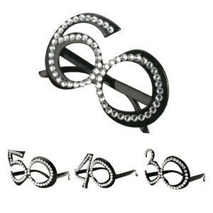 Fashion 60th Anniversary Birthday Crystal Glasses Party Costume Accessories