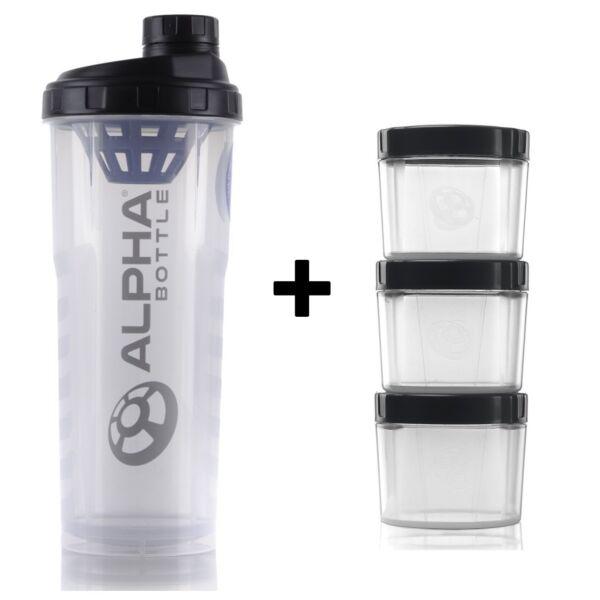 Alfa Bottiglia Grande Proteine Bottiglia Shaker + Supplemento Baccelli Container Di Immagazzinamento X3 Acquista Sempre Bene