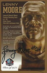 Lenny Moore Baltimore Colts Football Hall Of Fame Autographed Bust Card