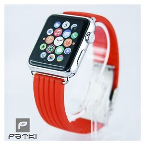13-Silikon-Armband-fuer-Apple-Watch-38mm-Serie-1-2-3-in-rot