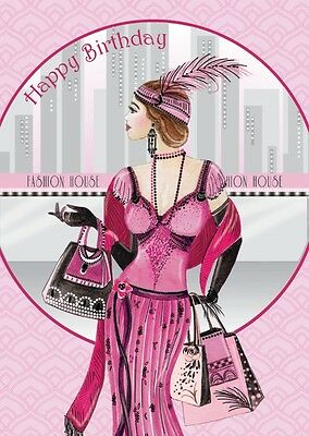 Art Deco 1920s Flapper Lady Shopping ~ Happy Birthday  ~  Glitter Birthday Card
