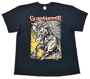 Gloryhammer-Unicorn-Invasion-of-Dundee-Tee-Black-Size-XL-Mens-T-Shirt