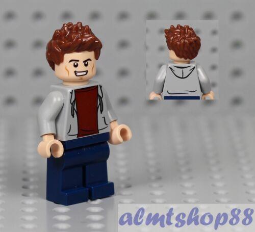 LEGO Boy Kids Minifigure w// Gray Jacket Over Red Sweatshirt Reddish Brown Hair