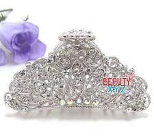 USA Metal Large Hair Claw Clip Rhinestone Crystal Hairpin Elegant Flower Design