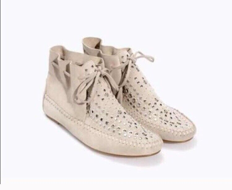 Zara Studded Moccasin Suede Bootie NWT Size 40 9